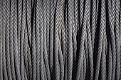 Braided Steel Seam Rope Wound In A Bay, The Texture Of A Braided Sea Rope. Cean New Steel Cable Stee poster
