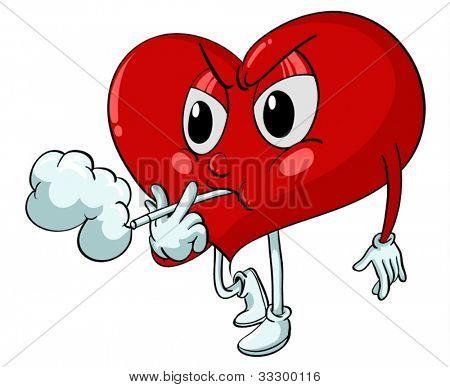 Illustration of a heart smoking