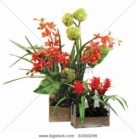 Vases Of Beauitful Flowers Isolated On White Background