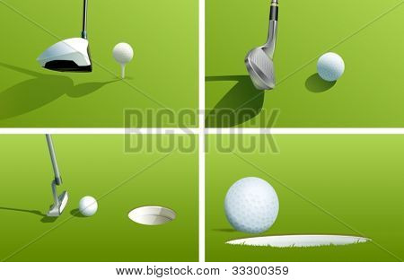 Illustration of various golf shots