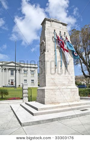 The Bermuda Cenotaph is located outside the Cabinet Building of Bermuda, In Hamilton.  The Cenotaph is a memorial for those who died for Bermuda during the World War I and World War II.