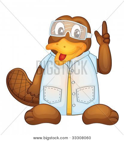 Illustration of a platypus wearing a lab coat - EPS VECTOR format also available in my portfolio.