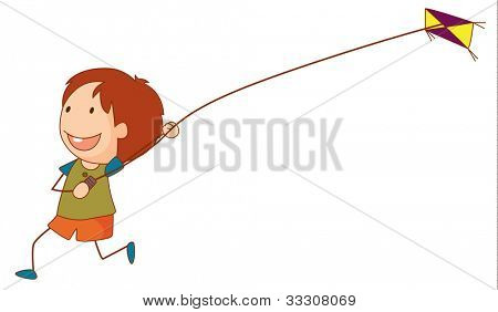Illustration of a girl flying a kite - EPS VECTOR format also available in my portfolio.