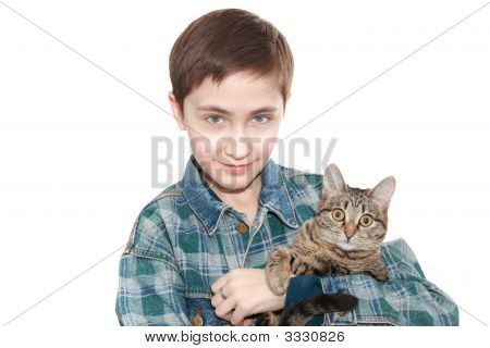 The 13-Years Teenager Holds A Cat