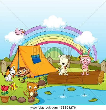 Illustration of animals camping and fishing - EPS VECTOR format also available in my portfolio.