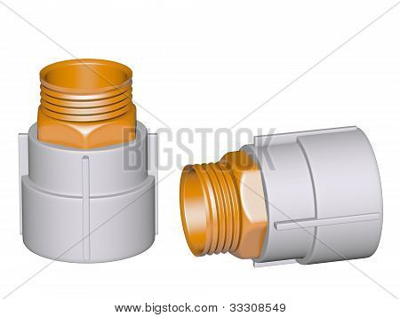 Fitting - Pvc Connection Coupler Outside Screw Thread Isolated On White Background