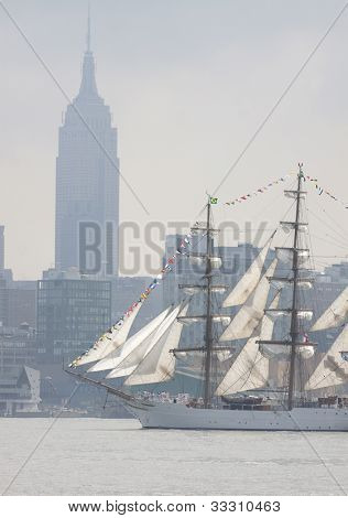 HOBOKEN, NJ  MAY 23: The tall ship Cisne Branco (Brazil) sails on the Hudson River past Manhattan during the Parade of Sail on May 23, 2012 in Hoboken, NJ. The parade is the start of Fleet Week.