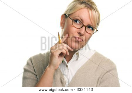 Pensive Woman With Pencil
