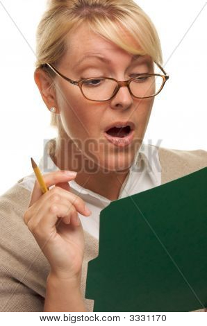 Intrigued Woman With Pencil And Folder