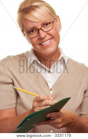 Business Woman With Pencil And Folder
