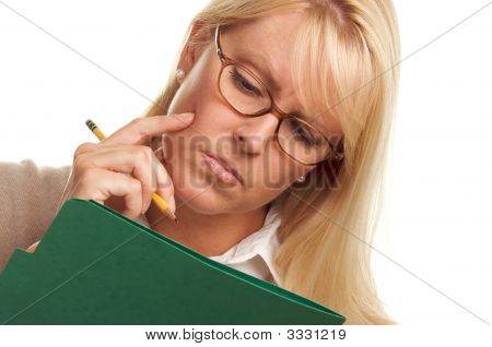 Thinking Woman With Pencil And Folder
