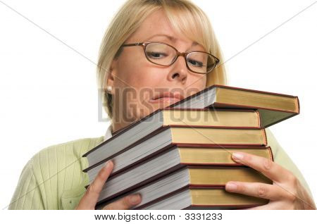 Stressed Student Struggles With Her Books