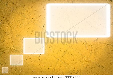 textbox on yellow wall.