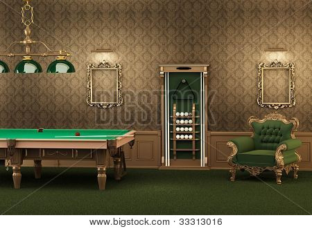 Billiards. Pool Table And Furniture In Luxurious Interior. Empty Frames On The Wall And Armchair In