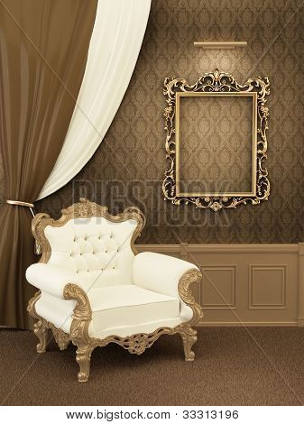 Armchair With Frame In Royal Apartment Interior. Luxurious Furniture At The Hall