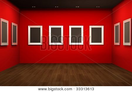 Front Perspective Of Gallery Room. Empty Blank Frames In Showroom Interior