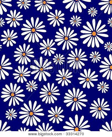 Doris Day Flowers On Lapis Seamless Tile