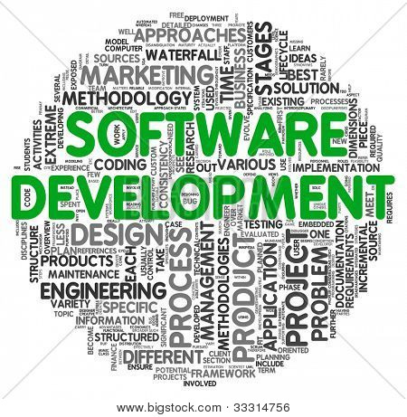 Software development concept in word tag cloud on white background