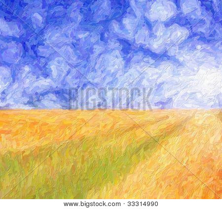 Wheat field and blue cloudy sky. Computing realistic oil painting style.