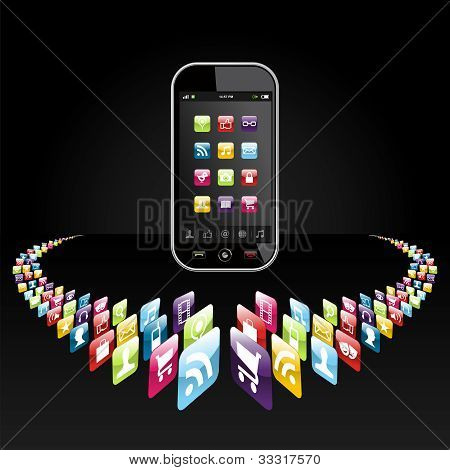 Smartphone Apps Icons Presentation