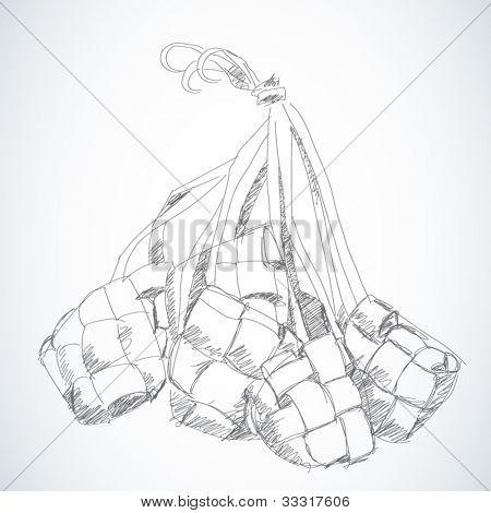 Vector Sketched Ketupat, Muslim Traditional Rice Dumpling