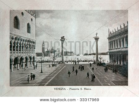 Italy - Circa 1910: A Picture Printed In Italy Shows Image Of Saint Marco Square In Venice, Vintage