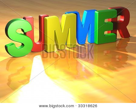Word Summer On Yellow Background
