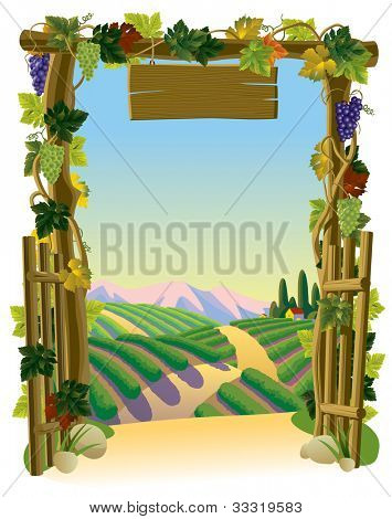 Raster version of vector image of the vintage wooden gate with grapes and sunlit vineyard with a road against a background