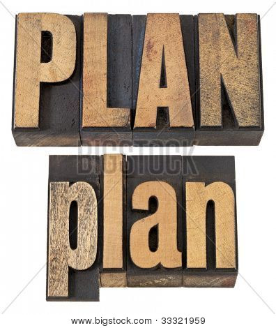 plan - isolated word in vintage letterpress wood type, upper and lower case layout