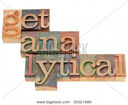 get analytical - SEO or other data research concept in vintage letterpress wood type