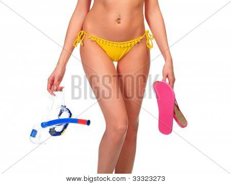 Woman with diving mask and flip-flops posing against white background