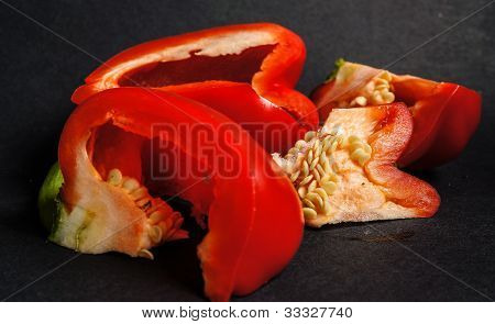 Red bell pepper pieces