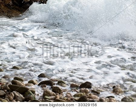 Waves and sea foam