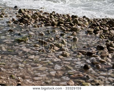 Stones in the sea on the coast of the central Dalmatia