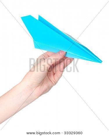 Origami paper airplane in hand isolated on white