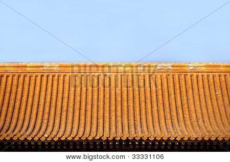 Tiled Chinese Roof Inside The Forbidden City, Beijing