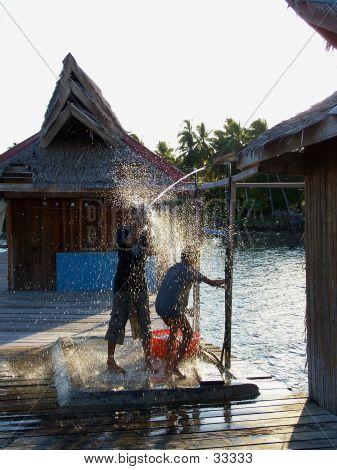 2 Kids Taking Shower