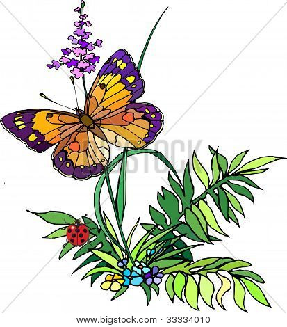 grass-with-flowers  ,vector illustration