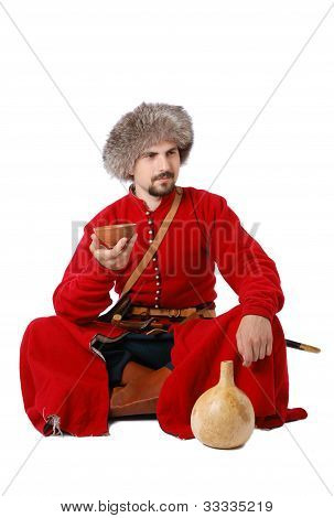 Tatar Warrior Sitting With Cup And Calabash.