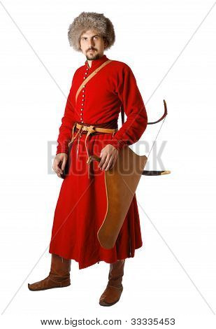 Re-enactor In Costume Of Tatar Warrior.