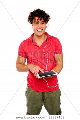 Guy Enjoying Music. Geek Person
