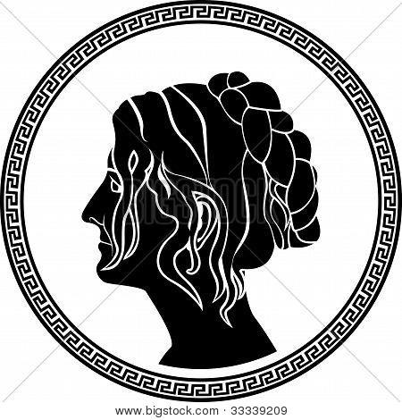 greek patrician women profile stencil