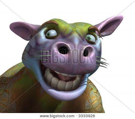 Goofy Alien Cow Portrait
