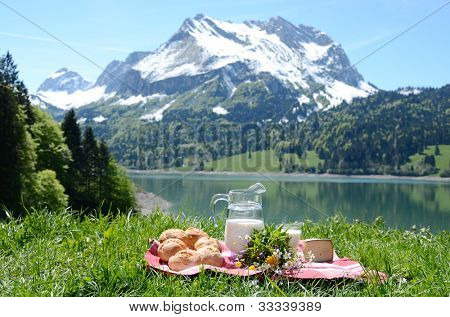 Milk, cheese and bread served at a picnic on Alpine meadow, Switzerland