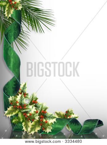 Christmas Border Corner Design Green