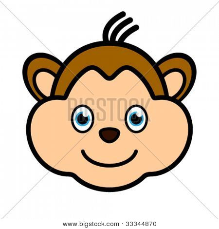 Vector cartoon character monkey smiling face web user avatar or icon