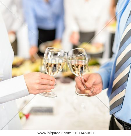 Business toast glasses company partners at meeting celebrate cooperation