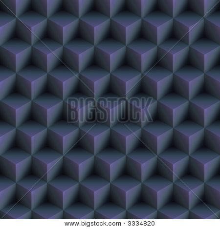 Op Art Cubes Pattern Blue Seamless