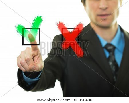 Businessman Pressing Buttons Yes/no