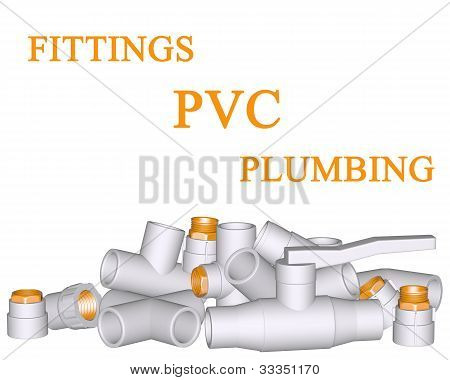 Fitting - Pvc Connection And Pipes Made Of Polypropylene 3D On White Background